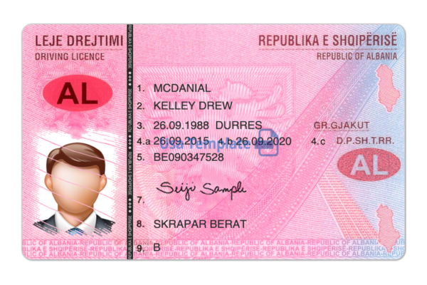 Albania Driver Licence Template. Albania Driving License psd template