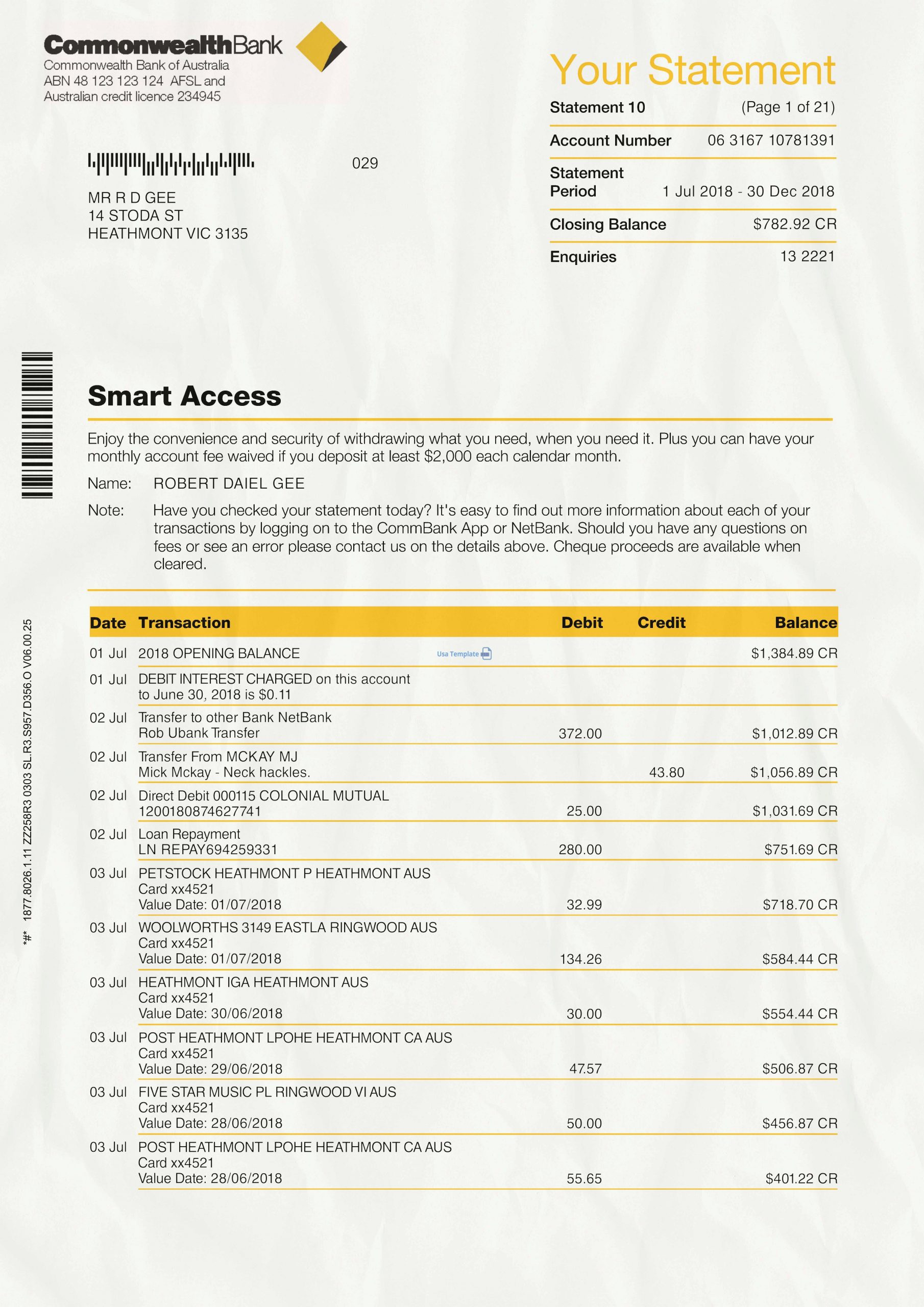 Commonwealth Bank statement psd template