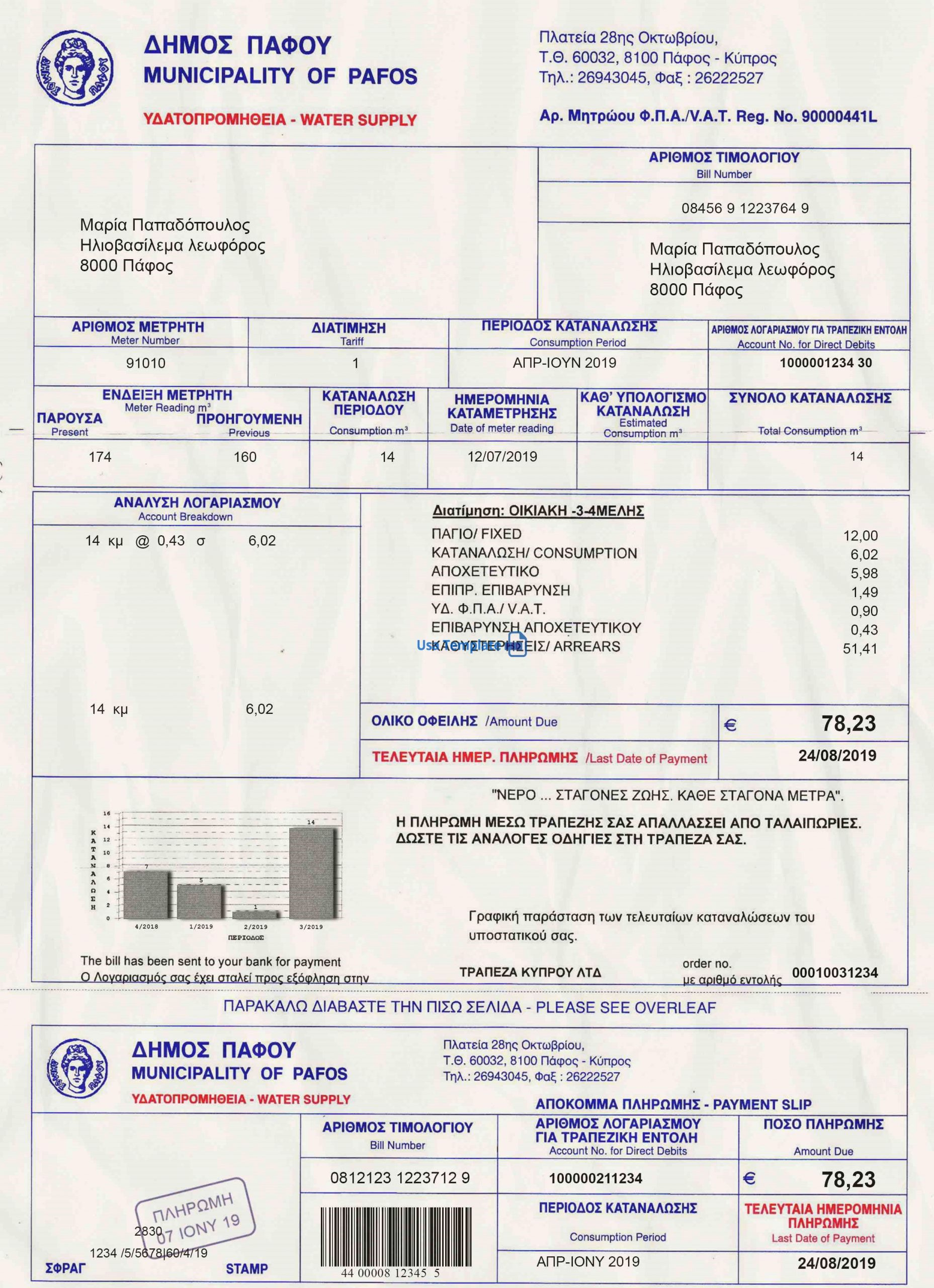 Cyprus Utility Bill psd Template: Cyprus Proof of address psd template