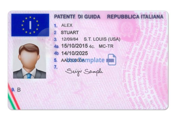 Italy Driver License psd template. Italy Driving License psd template
