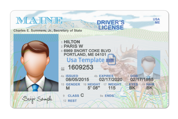 Maine Driver Licence psd Template. Maine Driving License psd template