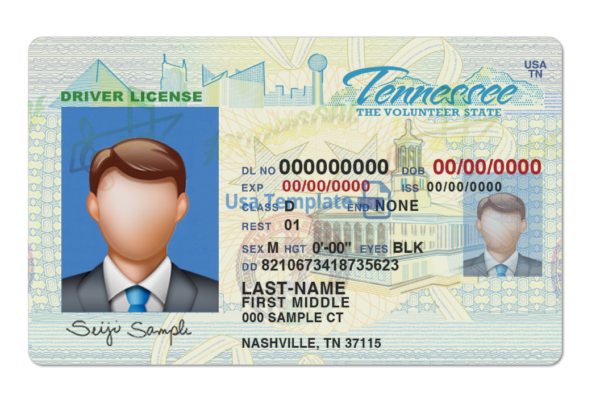 Tennessee driver license template psd. Tennessee Driving License psd template