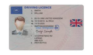 UK Driver license template