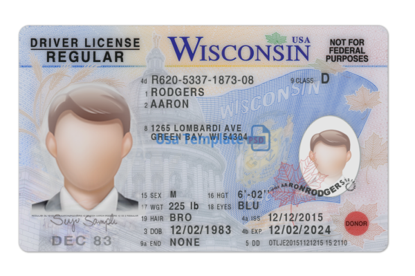 Wisconsin Driver License psd template