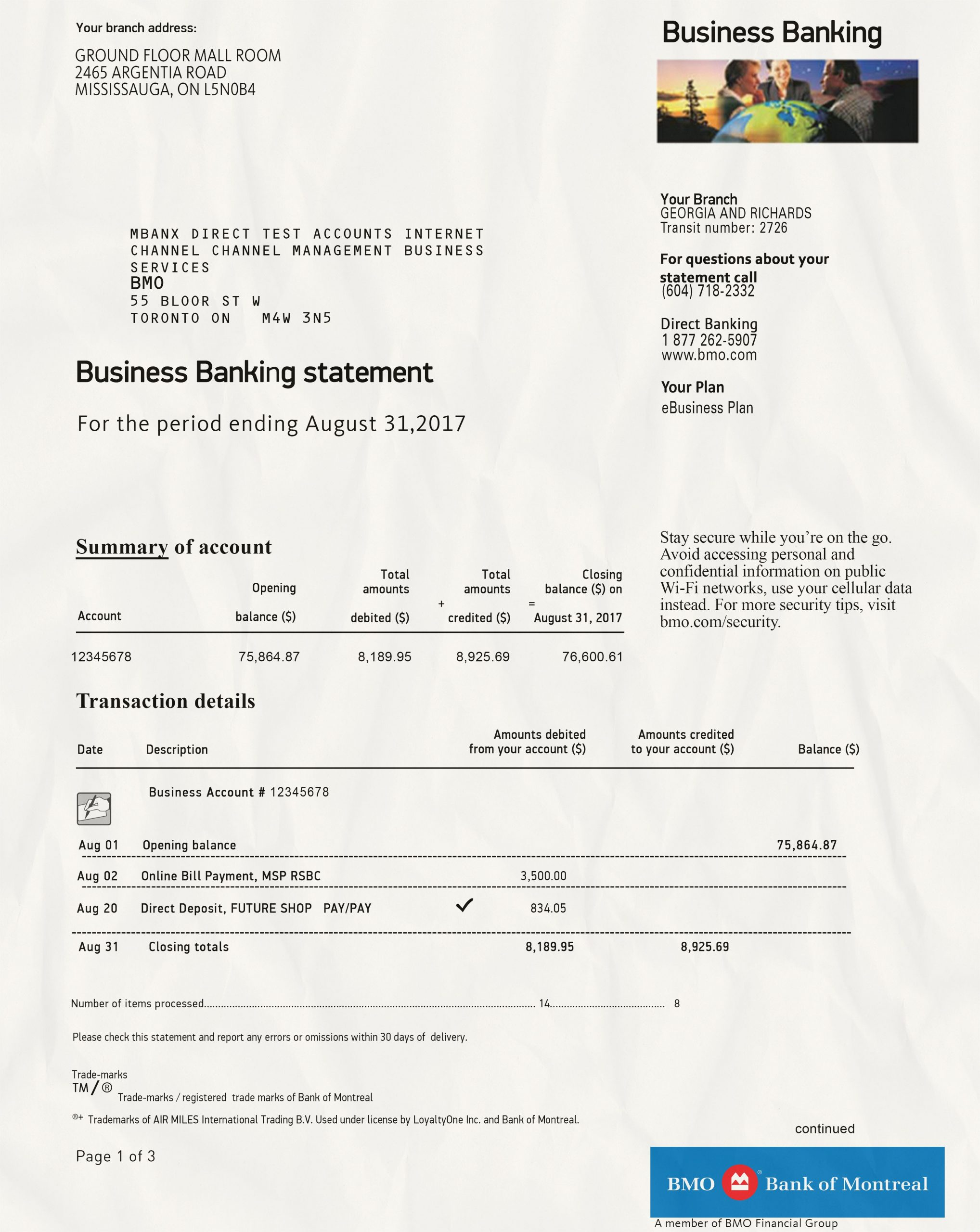 Bank of Montreal Statement psd template
