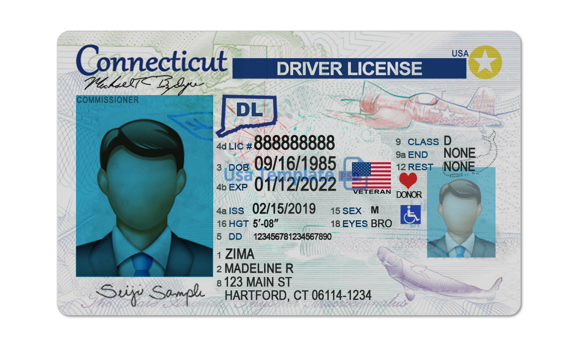 Connecticut drivers license template. Connecticut Driving License psd template