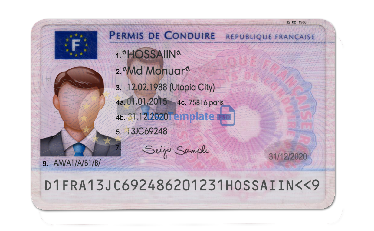 France Driver Licence psd Template.France Driving License psd template.