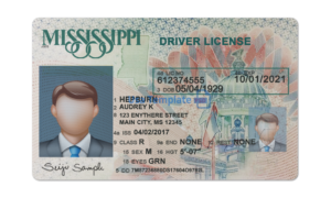 Mississippi driver license template, Mississippi Driving License psd template