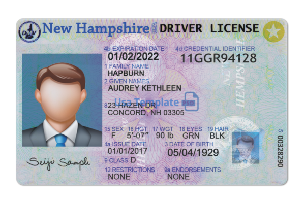 New Hampshire Driver License psd template