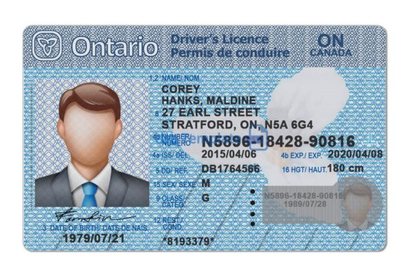 Ontario Driver license template.Ontario Driving License psd template