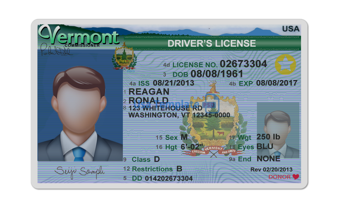 Vermont Driver License psd template