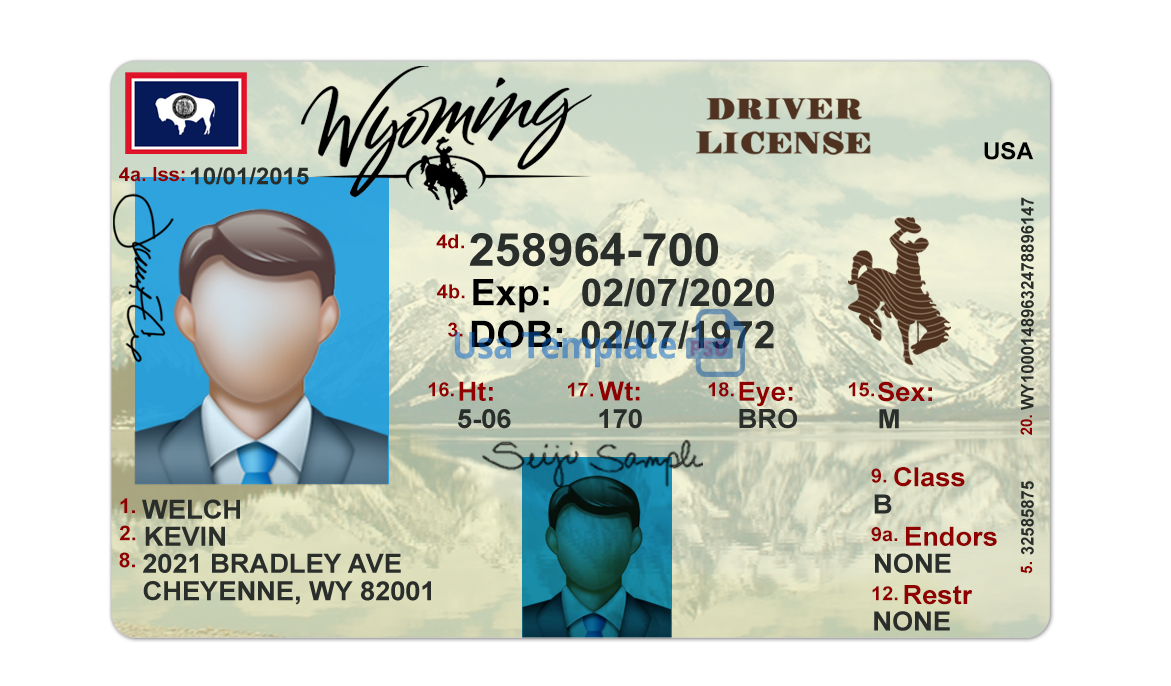 Wyoming Driver License psd template