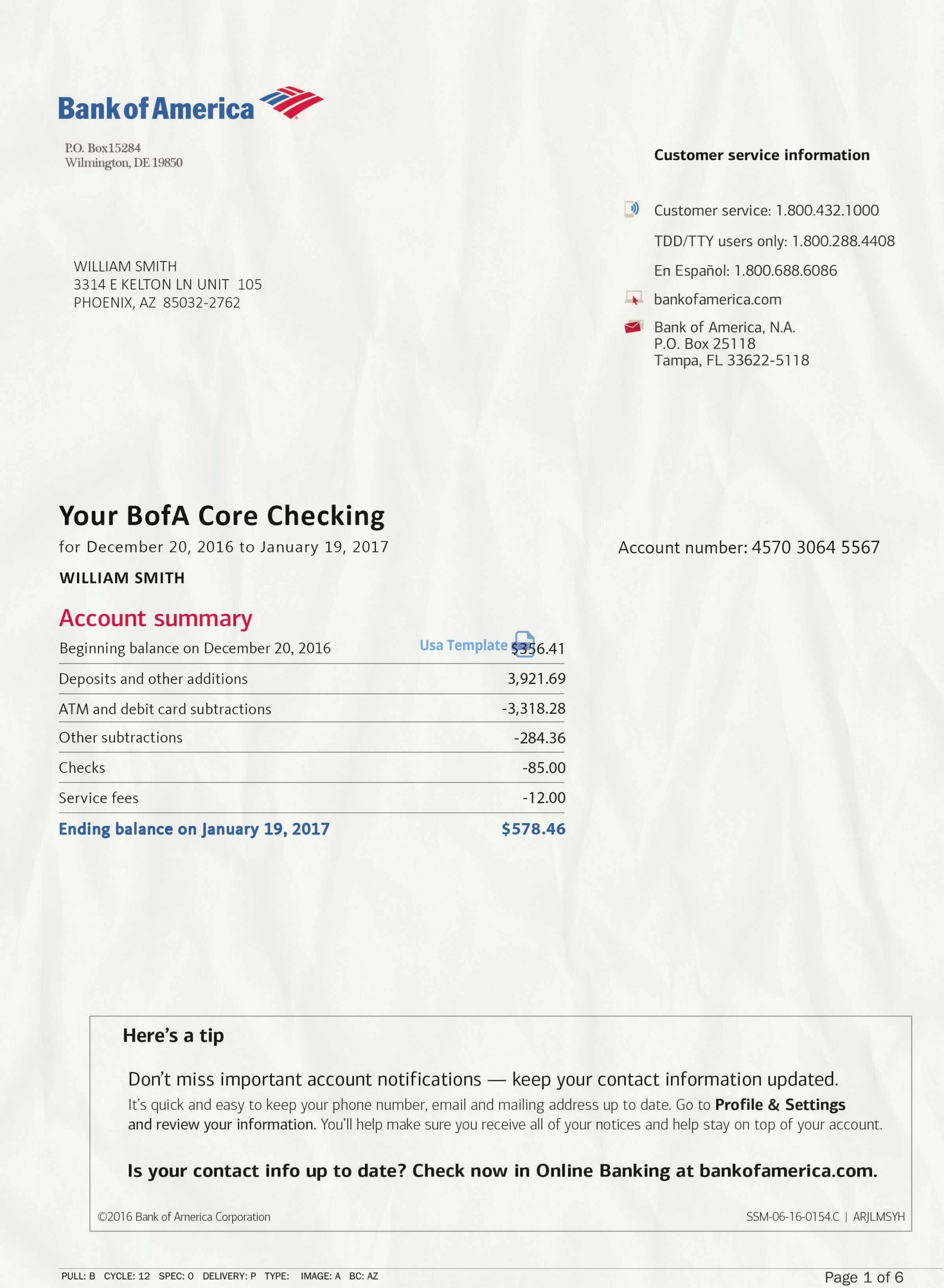 Bank of America Statement psd template