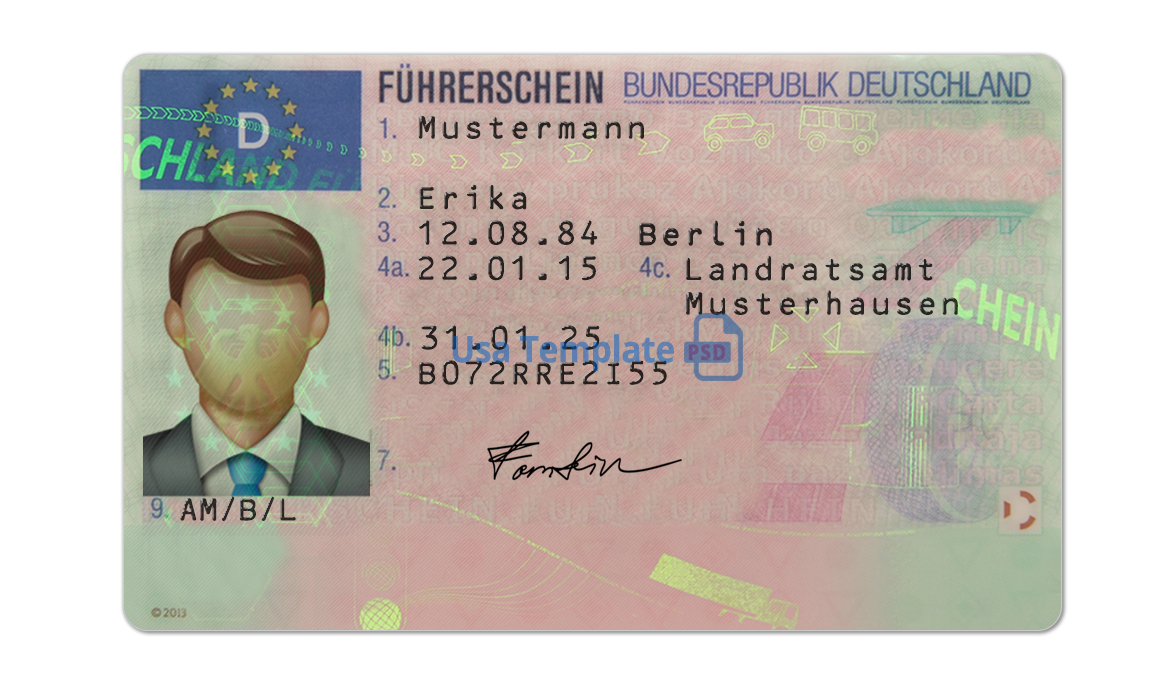 Germany Driver License psd template. Germany Driving License psd template