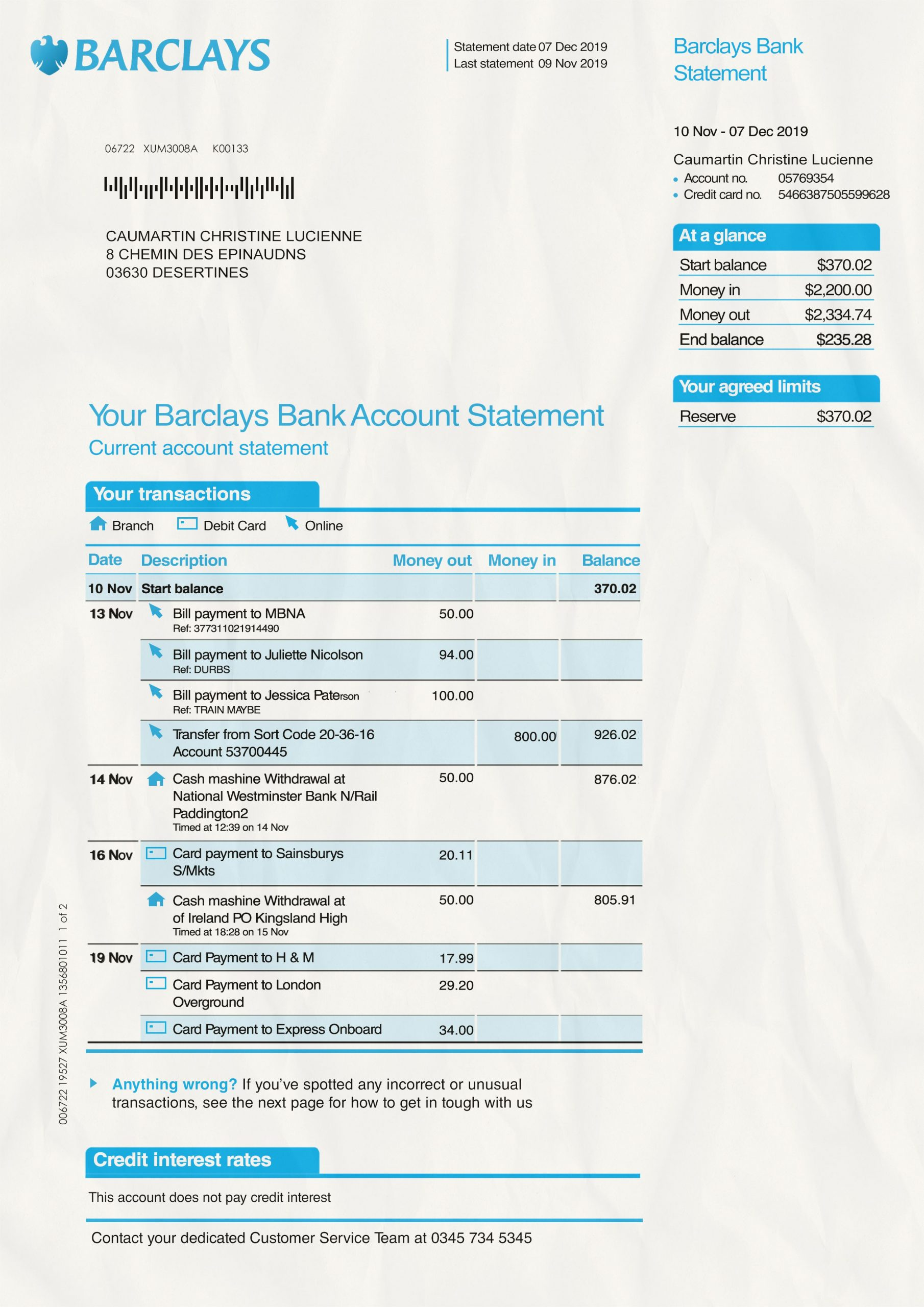 Barclays Bank Statement psd template