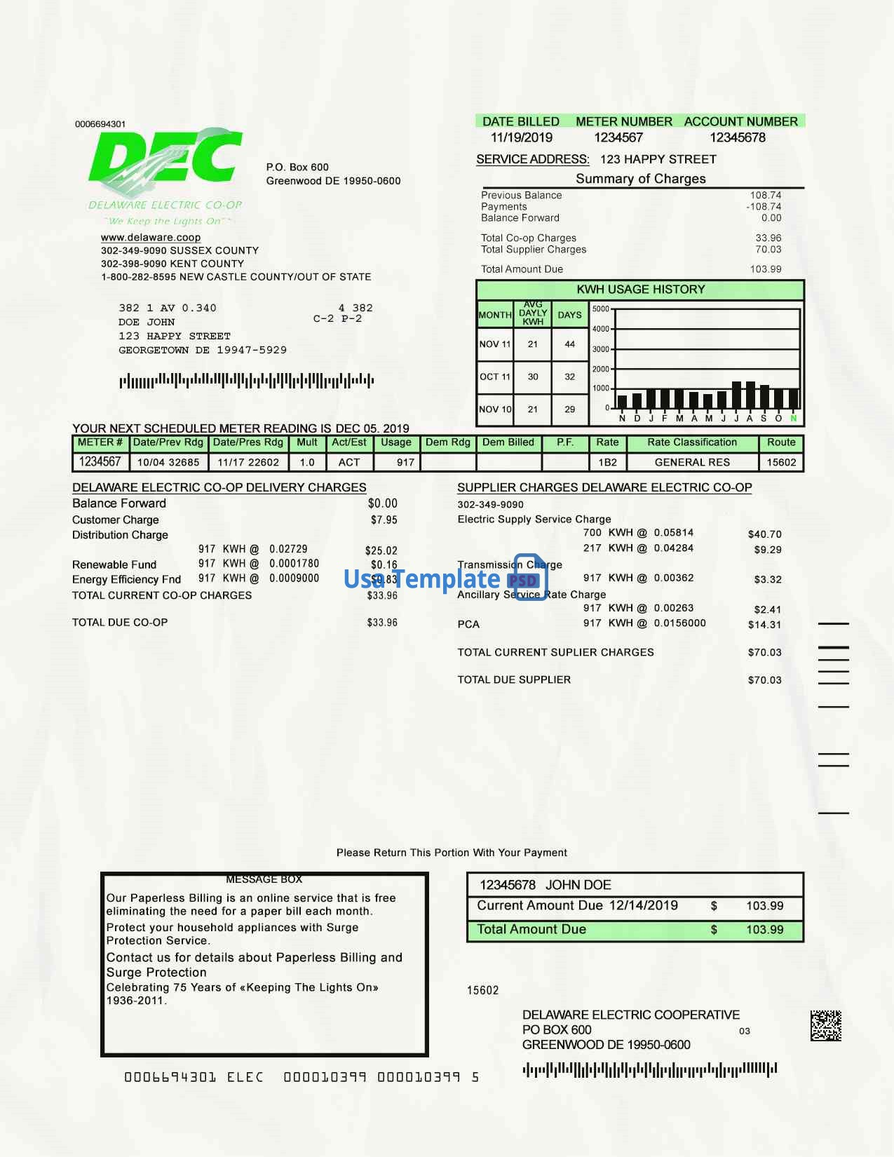 Delaware Utility Bill psd Template: Delaware Proof of address psd template