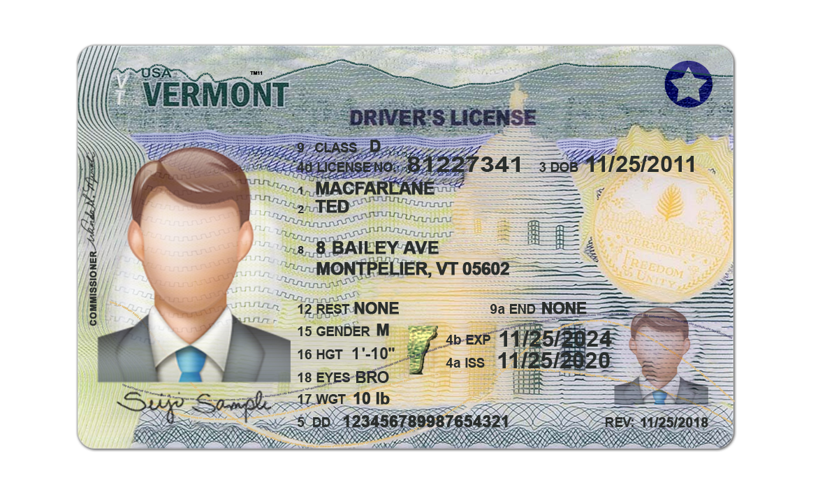 Vermont Driver License psd template (New)
